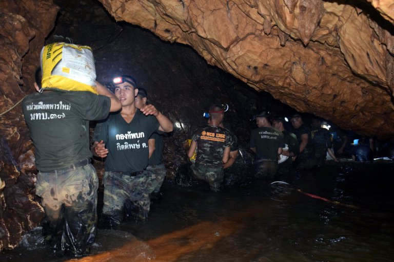 Cave search continues for members of football team missing in northern Thailand